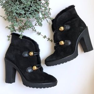 COACH Lenora Suede & Shearling Ankle Boot